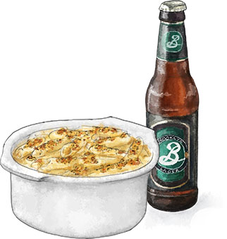Mac And Cheese illustration with beer for the greatest truffle mac n cheese recipe