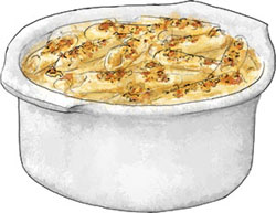 Mac n Cheese illustration for classic mac n cheese recipe