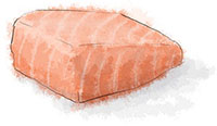 Salmon steak illustration for salmon en papillote recipe