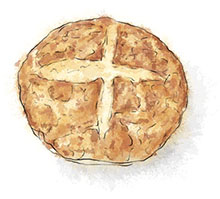Irish Soda Bread illustration for St Patrick's Day recipes