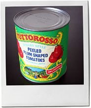 Tin of tomatoes illustration for minestrone recipe
