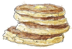 Illustration of a tower of buttermilk pancakes for pancake recipe