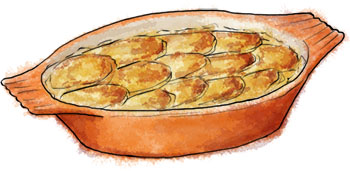 Dauphinoise potato illustration for dauphinoise recipe