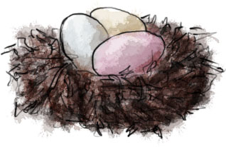 Mini egg basket illustration for Easter egg basket recipe