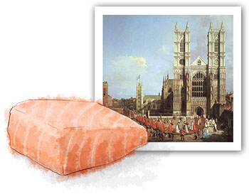 Salmon illustration and painting of Westminster by Canaletto