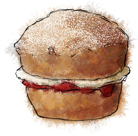 Victoria sponge cupcake illustration for the Royal Wedding recipes