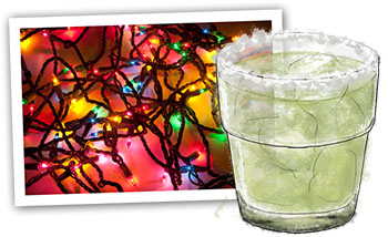 Cinco de Mayo Margarita Illustration and fairy lights.