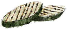 Grilled courgettes illustration for summer salad recipes