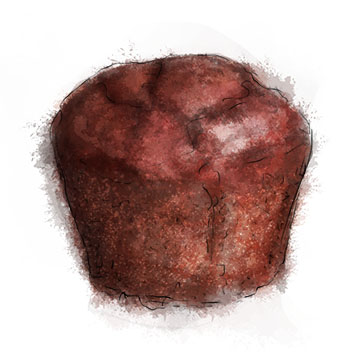Chocolate Banana Muffin Illustration for muffin recipe
