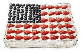 Flag Cake illustration for 4th of july traditional flag cake recipe