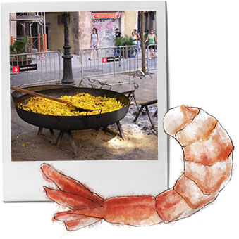 Paella photo and shrimp illustration for paella recipe