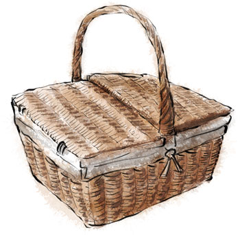 Picnic basket illustration for picnic recipes