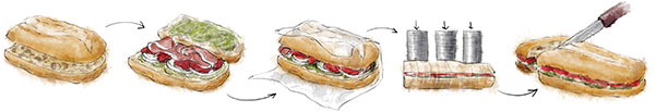 Mediterranean Pressed Sandwich illustration for picnic recipes