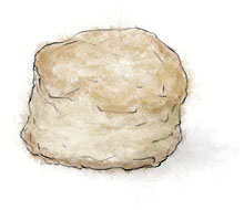 Scone illustration for summer strawberry and cream recipes