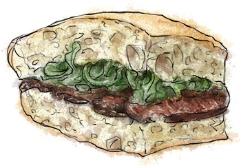 Skirt Steak sandwich recipe illustration
