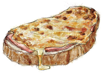 Croque Monsieur Food Illustration for recipe