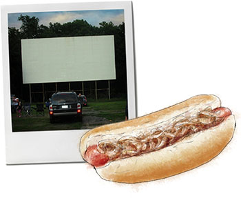 Drive in movies and hot dog illustration - the perfect summer