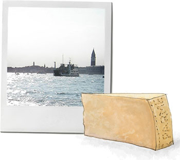 Venice photo and parmesan cheese illustration for summer risotto recipe
