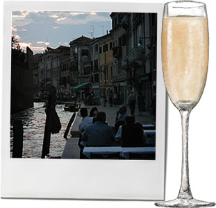 Bellini illustration and a photo of venice for the perfect summer cocktail