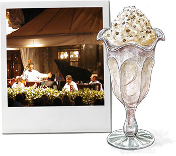 Tiramisu ice cream illustration and St Marks Square