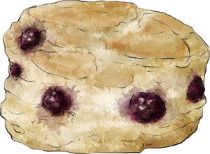 Blackberry Scone illustration for afternoon tea recipe