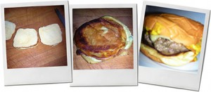 Trio of steps for grilled cheese burger making