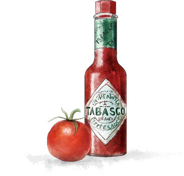 tabasco sauce illustration for bloody mary cherry tomato recipe