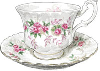 Teacup illustration for afternoon tea blackberry scone recipe
