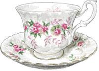 Teacup illustration for afternoon tea blackberry scone recipe