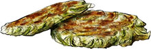 Courgette fritters illustration for zucchini fritter recipe