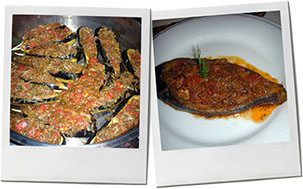 Eggplant montage for stuffed eggplant recipe