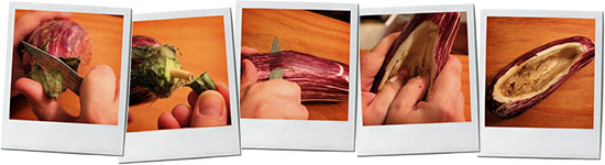 Eggplant Slicing Montage for Imam Bayaldi aubergine recipe