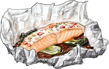 Ginger salmon illustration with Bok Choi for spicy asian salmon