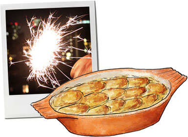 Lancashire Hotpot illustration for Guy Fawkes recipe