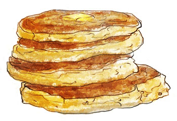 Tower Of Pancakes illustration for leftover Thanksgiving recipe