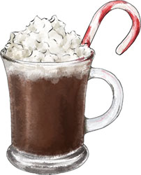 hot chocolate illustration for christmas recipe