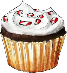 mini cupcake illustration for  Christmas cupcake recipe