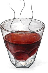 Steaming Bishop Cocktail illustration for Christmas recipe