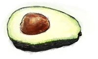 Avocado illustration for superbowl guacomole recipe