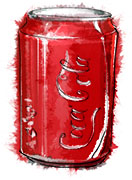 Can of Coke illustration for superbowl chicken recipe