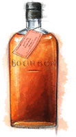 Bourbon illustration for strip steak recipe for superbowl