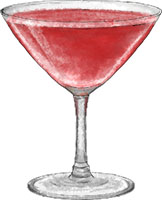 Cosmo illustration for valentines cocktail recipe