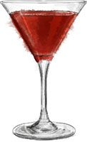 French Martini illustration for valentines cocktail recipes