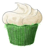 Green Velvet Cupcake for St Patrick's Day
