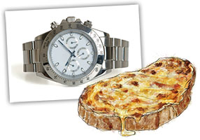 watch and a welsh rarebit illustration for recipe