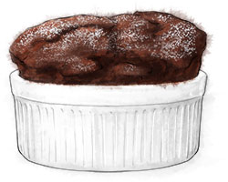 Chocolat Souffle illustration for recipe