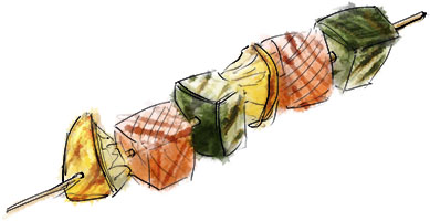 Salmon Skewer with lemon and zucchini