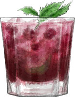 Cherry mojito illustration for cocktail recipe
