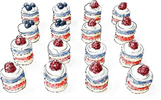 Mini red white and blue layered Flag Cakes for 4th of July
