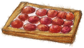 Peach tart with herbed goat cheese illustration for recipe